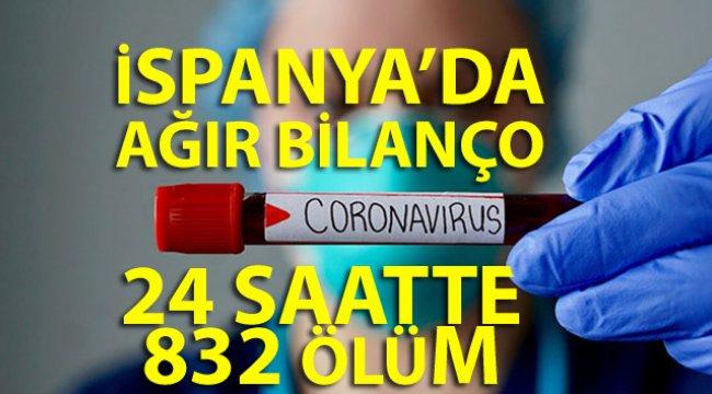 İspanya'da 24 saatte 832 ölüm