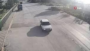 Kısıtlama saatinde dirft atan sürücü güvenlik kamerasında